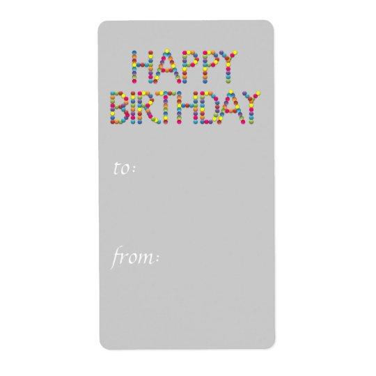 BonBon Party Rainbow Happy Birthday  Gift Tag Shipping Label