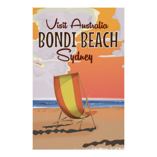 Bondi Beach retro Travel Poster