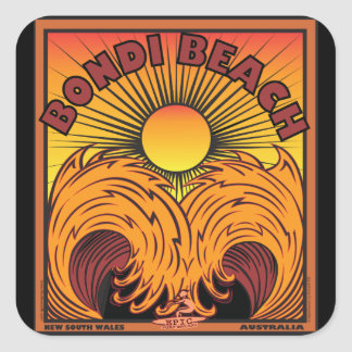 BONDI BEACH SYDNEY AUSTRALIA SURFING SQUARE STICKER