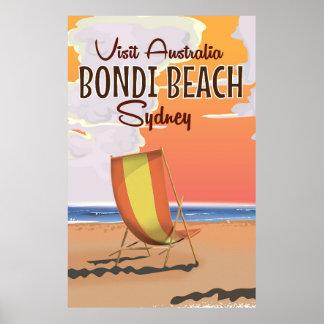 Bondi Beach vintage Travel Poster