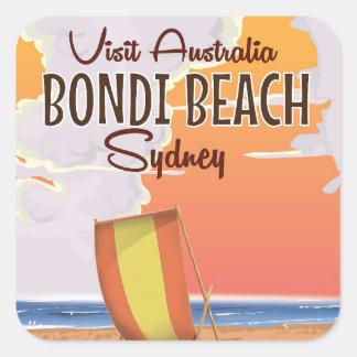 Bondi Beach vintage Travel Poster Square Sticker