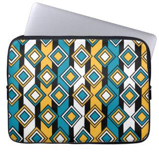 Bondi Blue saffron Black White Diamond Pattern Laptop Sleeve
