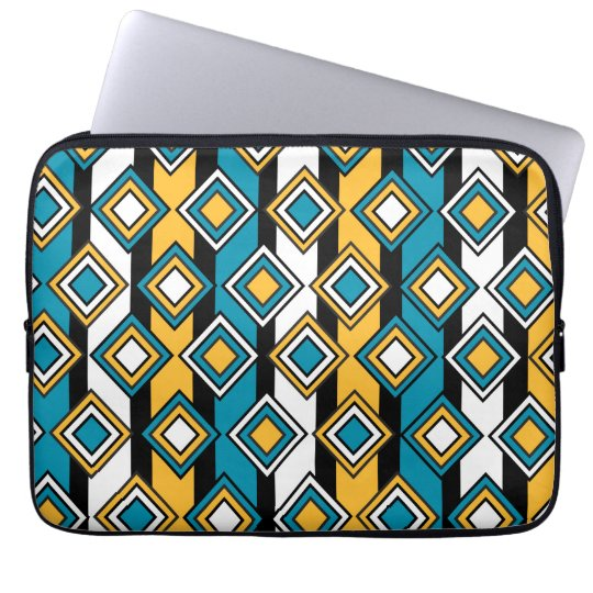 Bondi Blue saffron Black White Diamond Pattern Laptop Sleeve