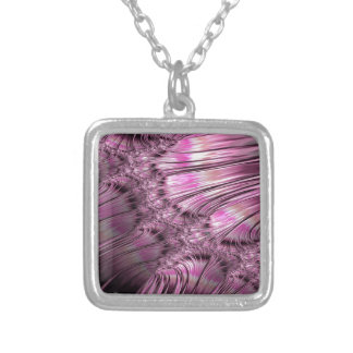 Bonding Ice on Frozen Lake Fractal Silver Plated Necklace