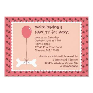 Bone and Balloon Dog Birthday Girl Party Invitatio 13 Cm X 18 Cm Invitation Card