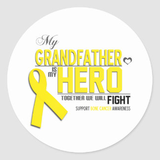 Bone Cancer Awareness: grandfather Classic Round Sticker