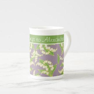 Bone China Coffee Mug: Lilies of the Valley, Mauve Tea Cup