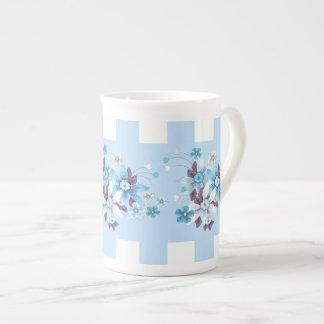 Bone China Country Style Blue White Check Floral Porcelain Mug