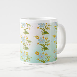 Bone China Green Blue Floral Jumbo Mug