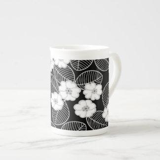 Bone China Mug Damask Floral Gray Black White Porcelain Mug