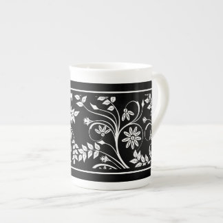 Bone China Mug Damask Floral Gray Black White (2) Bone China Mugs