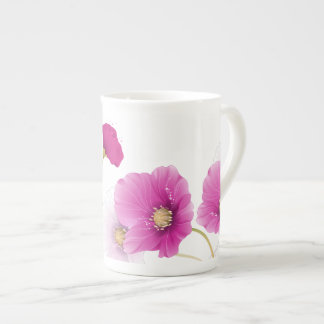 Bone China Mug Floral Pink Flowers White DECOR SET Porcelain Mug