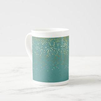 Bone China Mug-Petite Golden Stars-Teal Tea Cup