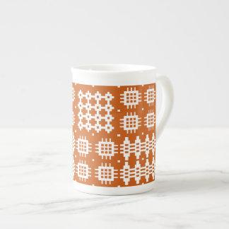 Bone China Mug: Welsh Tapestry Pattern, Brick Red Bone China Mug