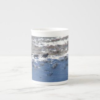 Bone China - Yellowstone Lamar wolf pack run Tea Cup