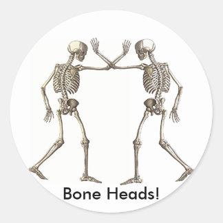 Bone Heads Skeletons Sticker Round Sticker