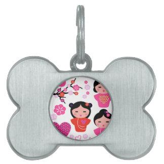 Bone pet tag with Little geishas