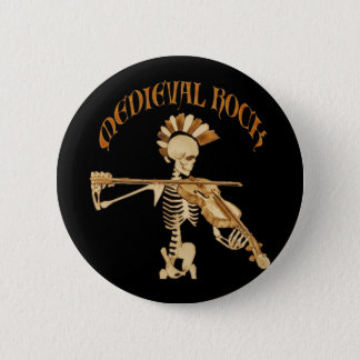 Bone violonist/Skeleton Fiddler - Medieval skirt 6 Cm Round Badge