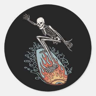 Bonehead Board Dude Round Sticker