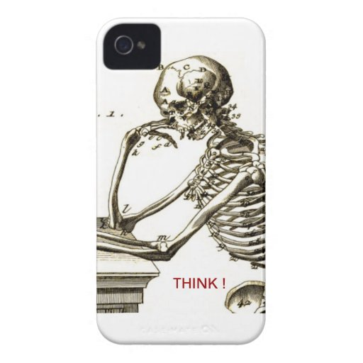 BONEHEAD The Contemplating Skeleton iPhone 4 Cover