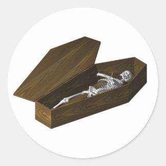 Bones in a Coffin: Halloween: Round Sticker