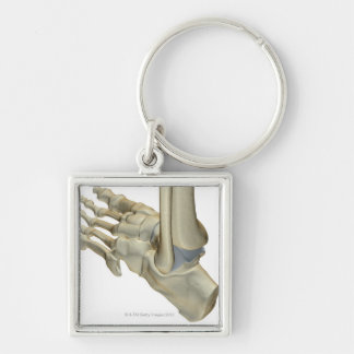 Bones of the Foot Silver-Colored Square Key Ring