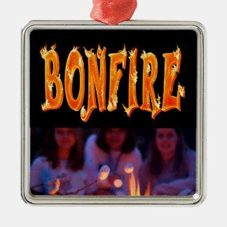 Bonfire fire text metal ornament