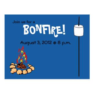 BONFIRE & marshmallow invites Postcard