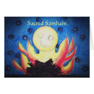 Bonfire Moon Samhain Poem Witch Wiccan Pagan Card