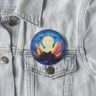 Bonfire Moon Samhain Witch Wiccan Pagan 7.5 Cm Round Badge