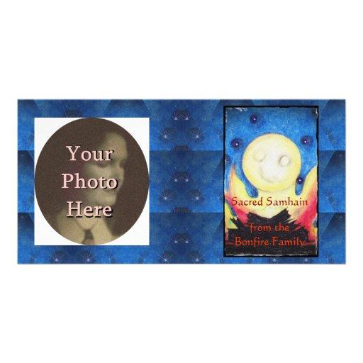 Bonfire Moon Samhain Witch Wiccan Pagan Custom Photo Card