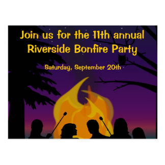 Bonfire Outdoor Party Postcard Invitation