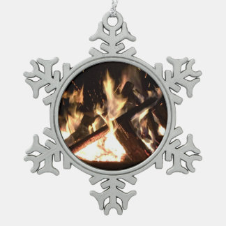 Bonfire Snowflake Pewter Christmas Ornament