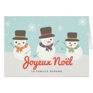 Bonhomme De Neige Carte de Noël Card