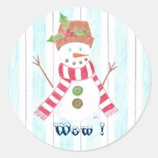 Bonhomme de neige (Wow !) reward Round Sticker