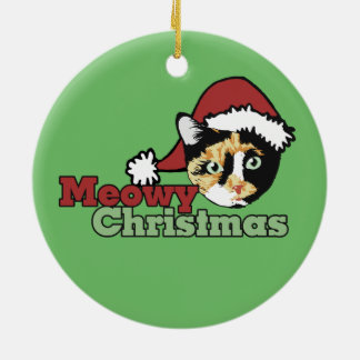 Bonita Merry Christmas Meow Cat Ceramic Ornament