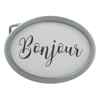 Bonjour-blackText Oval Belt Buckles