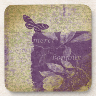 Bonjour Butterfly Beverage Coasters