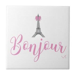 Bonjour-Eiffel Tower Bow Unique Small Square Tile