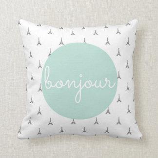 Bonjour Eiffel Tower print in grey Cushion