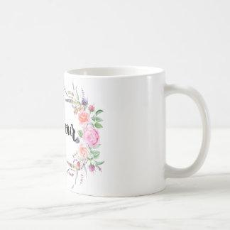 ♛   Bonjour floral classic white mug. Coffee Mug