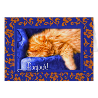 Bonjour! French Language Hello - Orange Tabby Cat Card