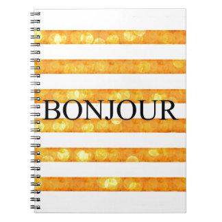 Bonjour Orange Stripe Bokeh Notebook