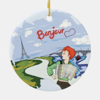 Bonjour Paris Drawing Ceramic Ornament