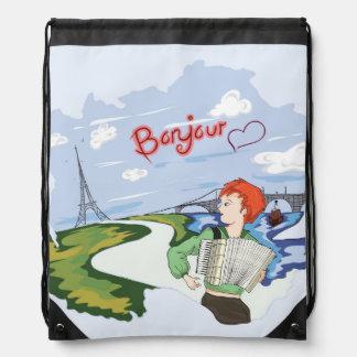 Bonjour Paris Drawing Drawstring Bag