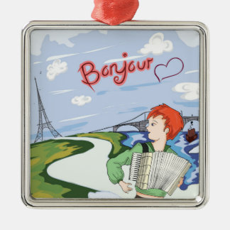 Bonjour Paris Drawing Metal Ornament
