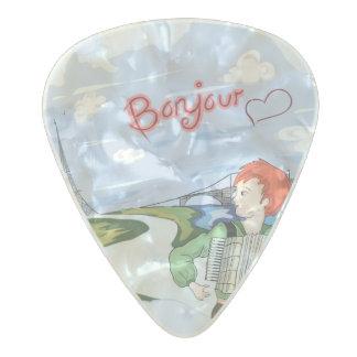 Bonjour Paris Drawing Pearl Celluloid Guitar Pick