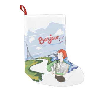 Bonjour Paris Drawing Small Christmas Stocking