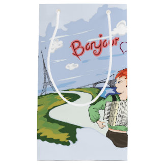 Bonjour Paris Drawing Small Gift Bag
