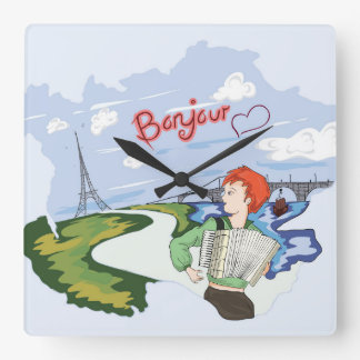 Bonjour Paris Drawing Wall Clocks